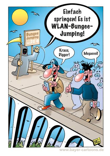 Cartoon von Stefan Bayer: Bungee Jumping 2.0