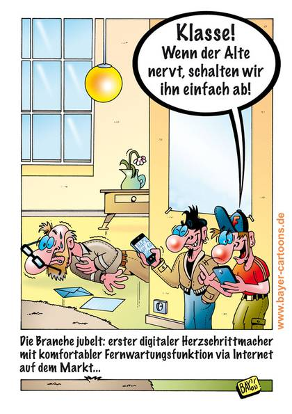 Cartoon von Stefan Bayer: Digitales Herz